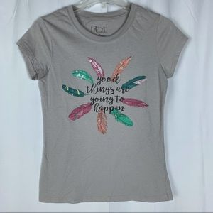 Freeze gray feather t-shirt, large